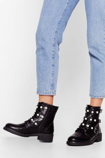Black And Too Boot Pearl Strappy Boots
