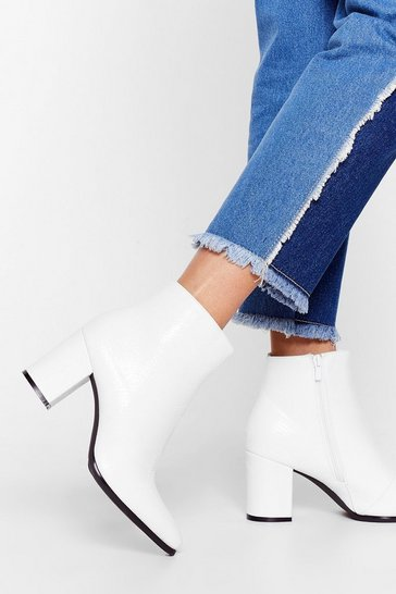 White Life and Sole of the Party Heeled Ankle Boots