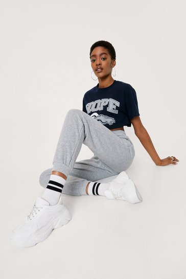 Grey marl Jog My Memory High-Waisted Cuffed Joggers