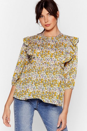 Cream Grow 'Em Off Floral Ruffle Blouse