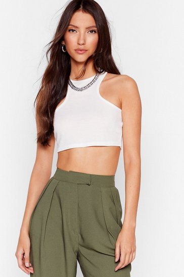 White Win the Racerback Ribbed Crop Top