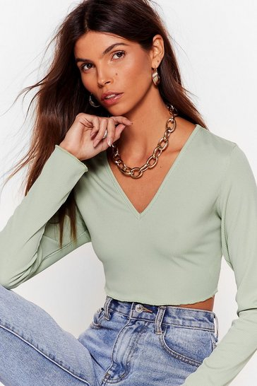 Sage V Know the Score Ribbed Crop Top