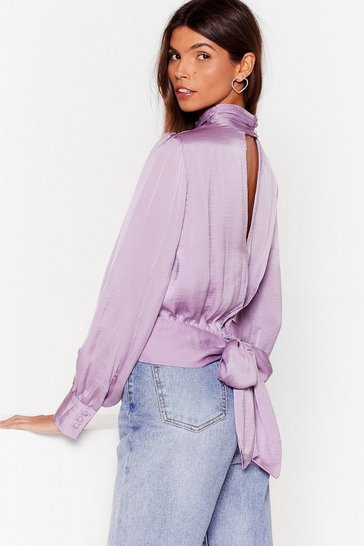 Lilac Satins All the Time High Neck Cut-Out Blouse