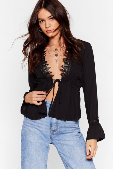 Black Can Tie Have This Dance Eyelash Lace Blouse