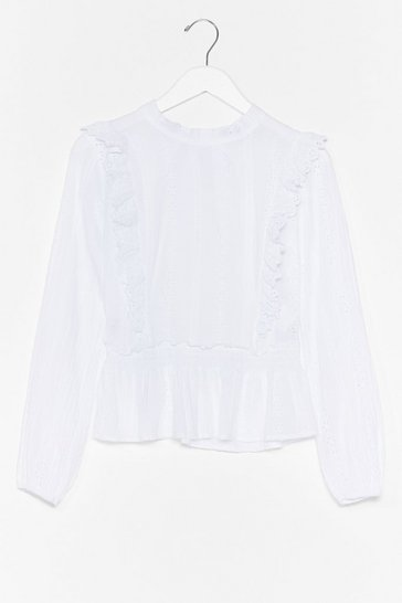 White Out in the Open Broderie Anglaise Ruffle Blouse