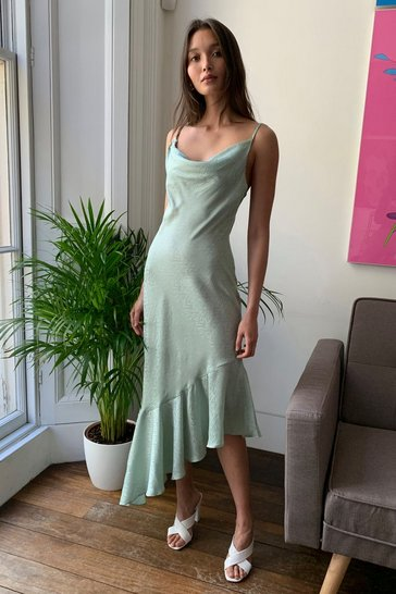 Mint Take Thing's Flow Satin Midi Dress