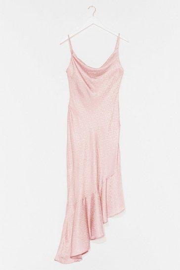 Pink Take Thing's Flow Satin Midi Dress