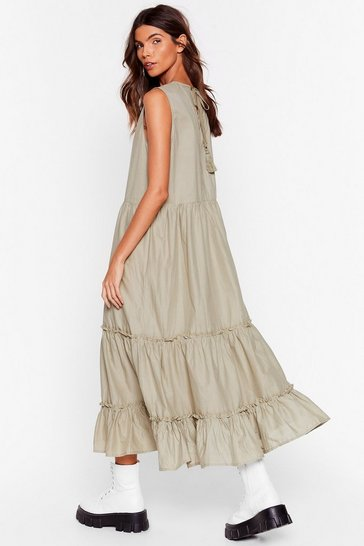 Sage Tiered Sleeveless Relaxed Midi Dress