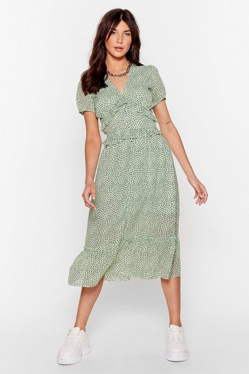 Sage Dot to Have It Ruffle Midi Dress