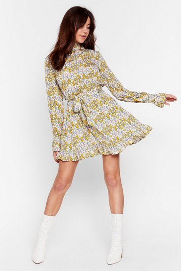 Cream Grow 'Em Off Floral Belted Mini Dress
