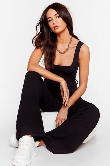 Black Drawn to You Tie Belted Jumpsuit
