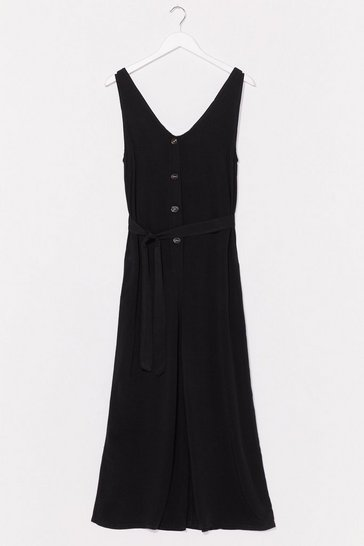 We Like You Culotte Belted Jumpsuit, Black
