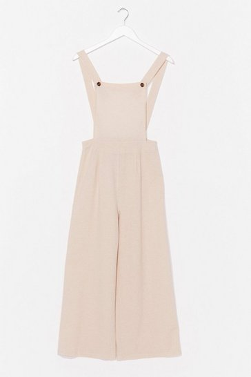 Stone Linen to Your Heart Wide-Leg Overalls