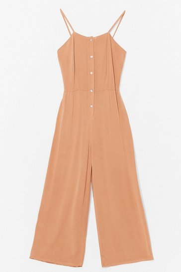 Camel Button Front Strappy Cullotte Jumpsuit