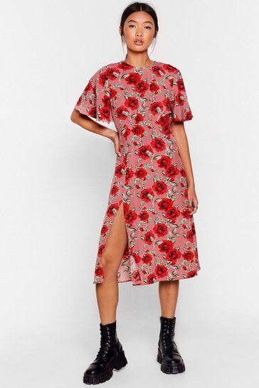 Pink Stalk My Way Floral Midi Dress