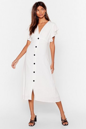 White We Won't Back Button-Down Ruffle Midi Dress