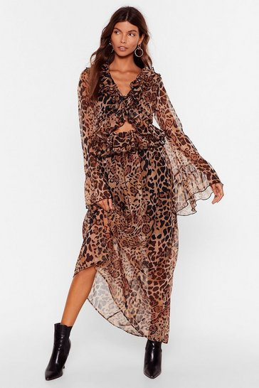 Brown Purr-fect Timing Cut-Out Maxi Dress