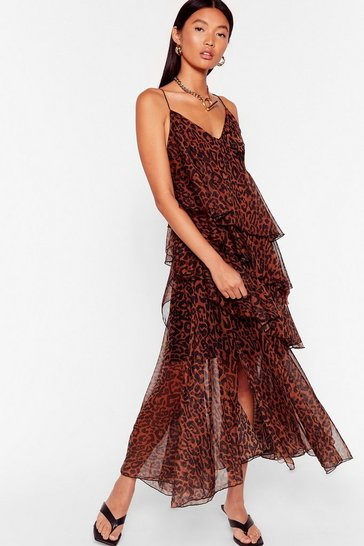 Brown Wild Over Tier Leopard Midi Dress