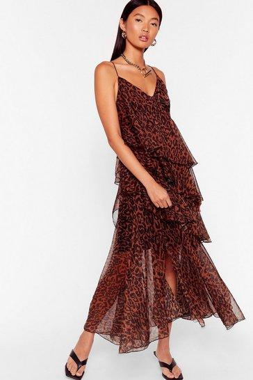 Brown Wild Over Tier Leopard Midi Dress