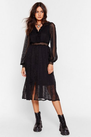 Black Lace Go Out Broderie Anglaise Midi Dress
