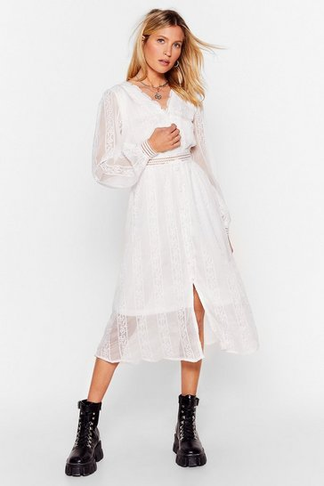 White Lace Go Out Broderie Anglaise Midi Dress