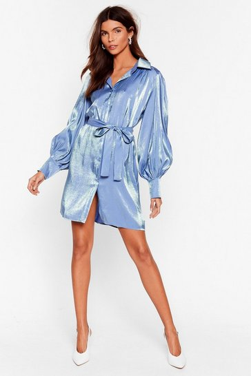 Blue Love to Flirt Satin Mini Dress