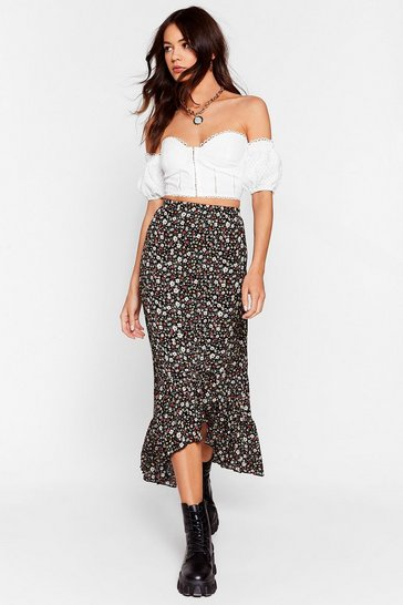 Black We Wanna Grow More Floral Midi Skirt