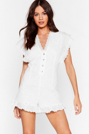 White Frill the Same Broderie Anglaise Button-Down Romper