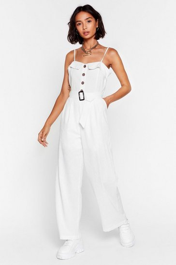White Looks Like Your Linen Belted Jumpsuit