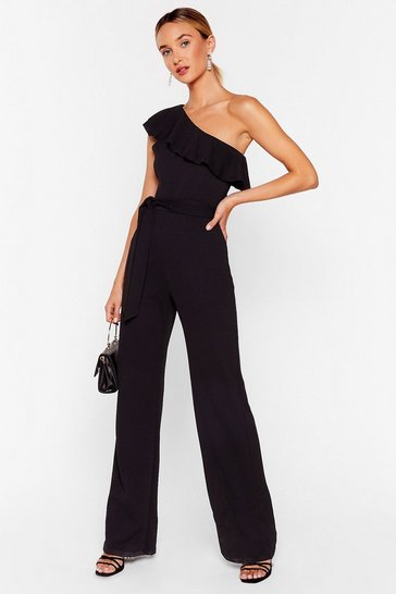 Black Frill Dancing One Shoulder Belted Jumpsuit