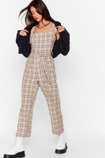 Sand Check Back Square Neck Jumpsuit