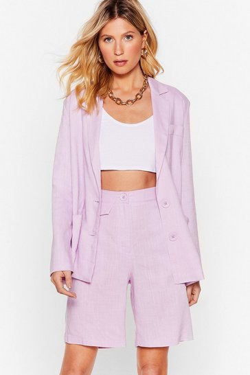 Lilac Linen Up Relaxed Button-Down Blazer
