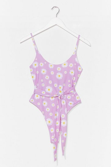 Lilac Floral Tie Waist High Leh Swimsuit