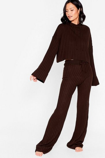 Chocolate Casual Ribbed Hoodie and Pants Lounge Set