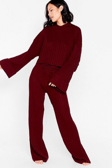 Claret Casual Ribbed Hoodie and Pants Lounge Set