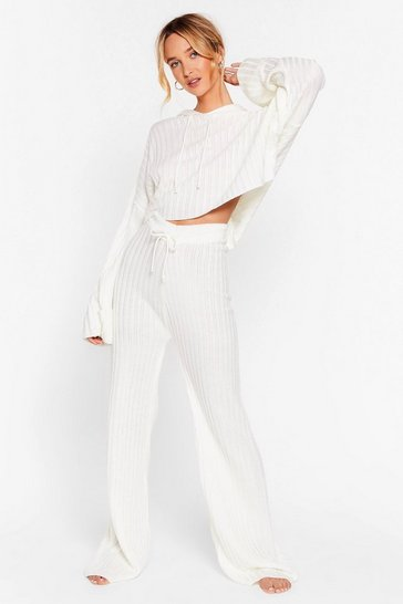 Cream Take the Easy Option Hoodie and Pants Lounge Set