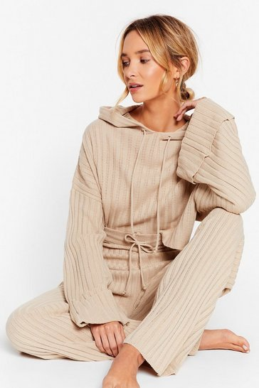 Oatmeal Casual Ribbed Hoodie and Trousers Lounge Set
