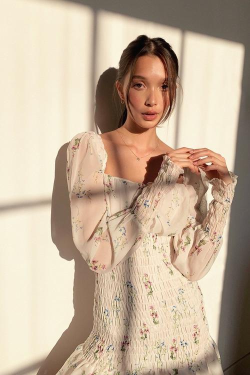 Shirred Puff Sleeve Tea Dress | NastyGal