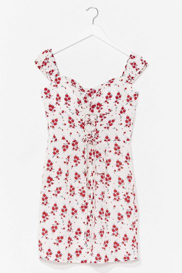 White Grow Get 'Em Floral Mini Dress