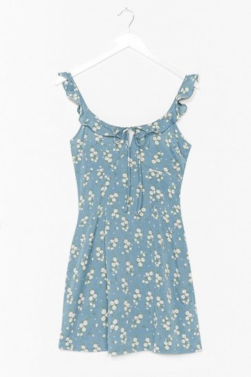 Blue Floral Ruffle Strap Mini Summer Dress