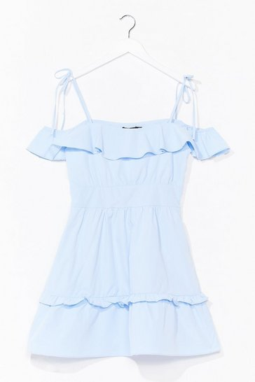 Powder blue Poplin Tie Strap Frill Mini Dress