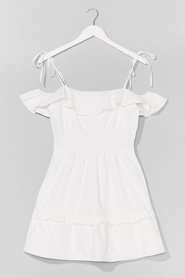 White Sun Trap Ruffle Mini Dress
