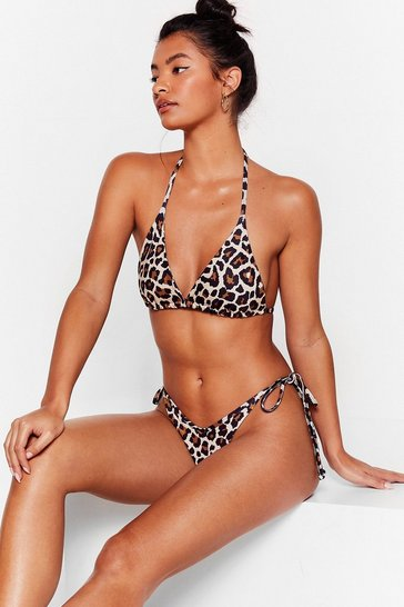 Brown Wave Back Leopard Triangle Bikini Set