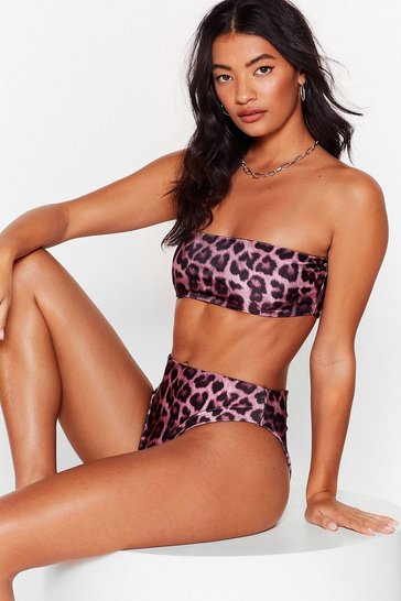 Mauve Stalking the Sun Leopard Bikini Top