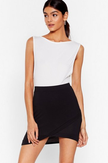 Black Wrap Game High-Waisted Mini Skirt