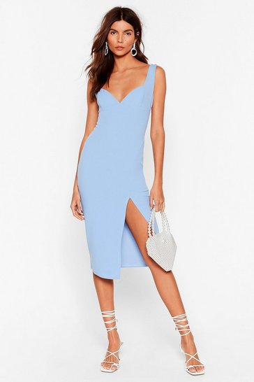 Pale blue Plunge Down Midi Dress