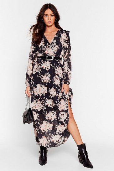Black Feelin' Bud Floral Maxi Dress