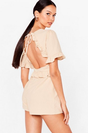 Stone We'll Back It Ruffle Backless Romper