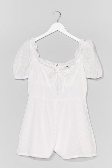 White Hey Hole-d On Broderie Puff Sleeve Playsuit