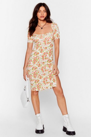White Put Your Gard-en Up Square Neck Floral Dress